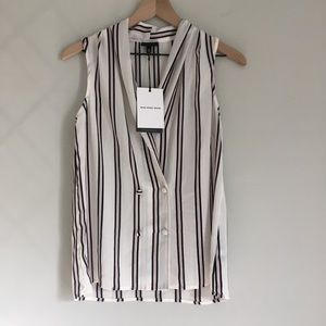 WHO WHAT WEAR sleeveless semi sheer striped top